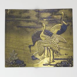Golden Birds Throw Blanket