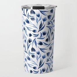 Dark blue watercolor floral print Travel Mug