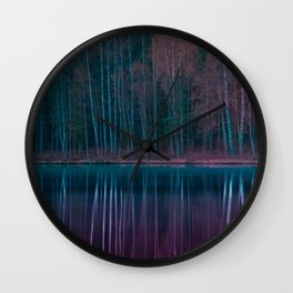 Forest Reflections Purple and Green Wall Clock
