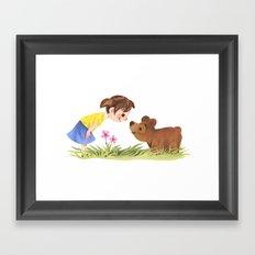 Girl And Bear Say Hello Framed Art Print