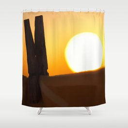 Clothes peg at sunrise Shower Curtain