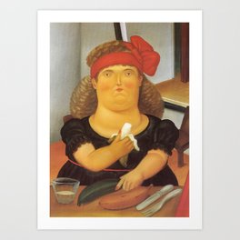 Fernando Botero - Woman eats banana Art Print