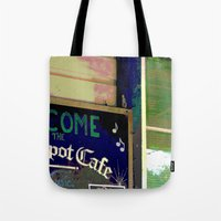 cafe Tote Bags featuring Cafe by Glenn Designs