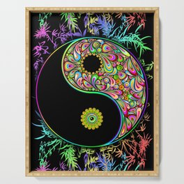 Yin Yang Bamboo Psychedelic Serving Tray