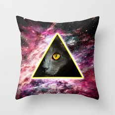 Illuminati Universe Cat  Throw Pillow