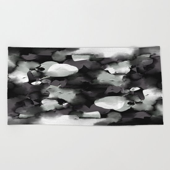 Raw Paint 2 - Black And White Beach Towel