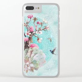 FLORAL HUMMINGBIRD Clear iPhone Case