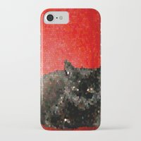 sofa iPhone & iPod Cases featuring cat on red sofa by ANArt
