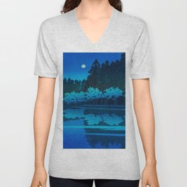 Vintage Japanese Woodblock Print Blue Forest At Night White Moonlight Mystical Trees Unisex V-Neck