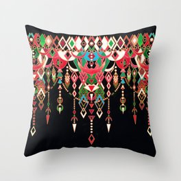 Modern Deco in Red and Black Throw Pillow