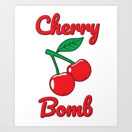 Cherry Bomb Retro Vintage Old Style Design Art Print