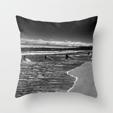 Surfers in Black Throw Pillow
