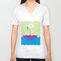sailing V-neck T-shirts featuring sailing by dabones