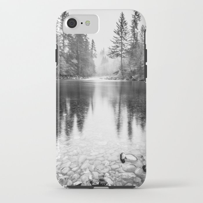 Forest Reflection Lake - Black and White  - Nature Photography iPhone Case