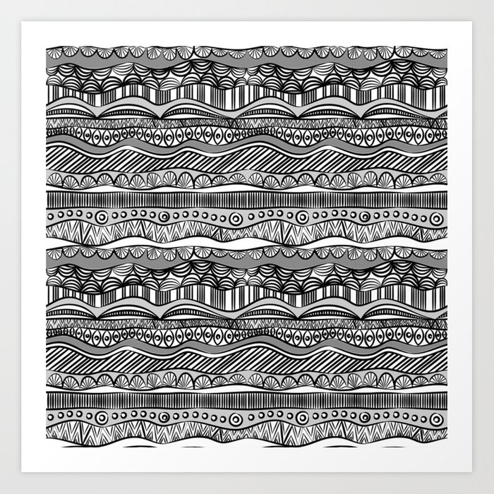 Black and white ethnic pattern art print