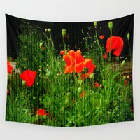 poppies Wall Tapestries featuring Poppies by Vitta