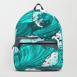 Sea waves seamless pattern Backpack