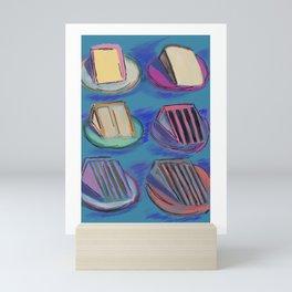 Never 2 Many Cakes Blue Background #Desserts #Painting Mini Art Print