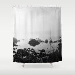 Foggy Harbor North Shore 4 BW Shower Curtain