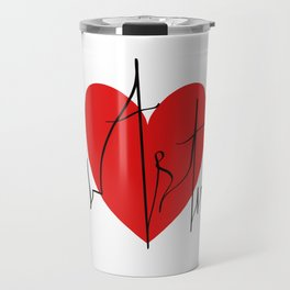 Art lovers illustration/ Hand drawn lettering, Artist's heartbeat monitor Travel Mug