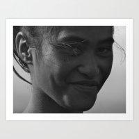 maori Art Prints featuring Maori Smile by Luke Durant