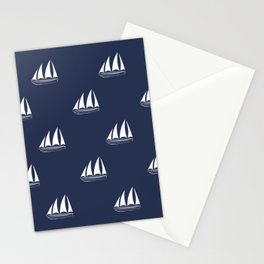 White Sailboat Pattern on navy blue background Stationery Cards