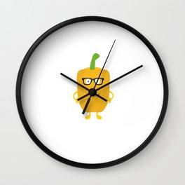 Yellow nerd Capsicum Wall Clock