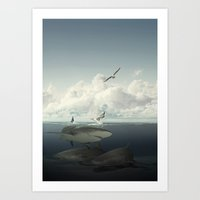 Sharks And Guls Art Print