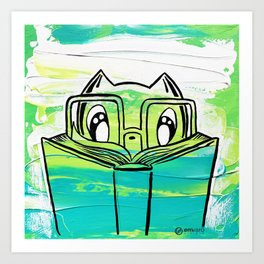 Skribbles: Lost in a good book (teal) Art Print