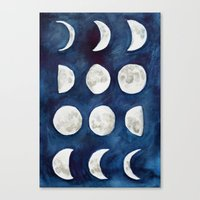 moon phases Canvas Prints featuring Moon phases by Bridget Davidson