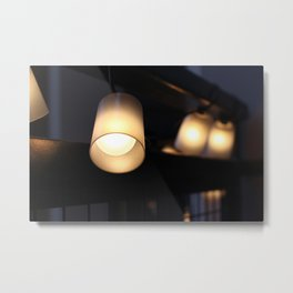 String lights on balcony Metal Print