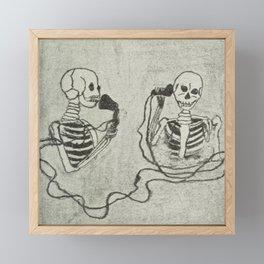 Skeleton's telephone. Framed Mini Art Print