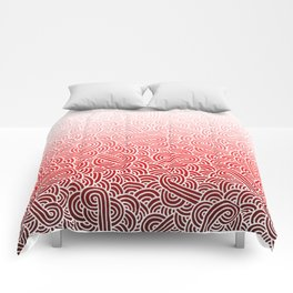 Faded red and white swirls doodles Comforters
