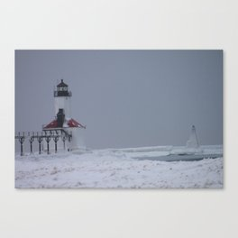 Cold close up from beach light house. Canvas Print