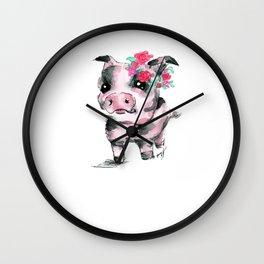 Floral Piglet Wall Clock