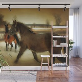 Horses Along a Fence in Snow in Winter. Golden Age Painting Style. Wall Mural