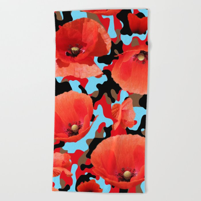 Poppie Camouflage Red Blue -Living Hell Beach Towel