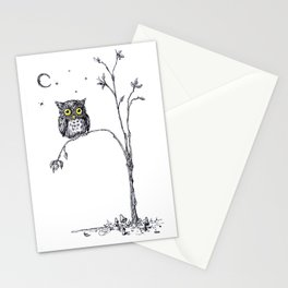 owl in the moonlight under the stars too big for his little tree Stationery Cards