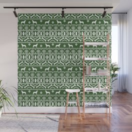 Husky fair isle green and white minimal christmas dog pattern gifts huskies Wall Mural