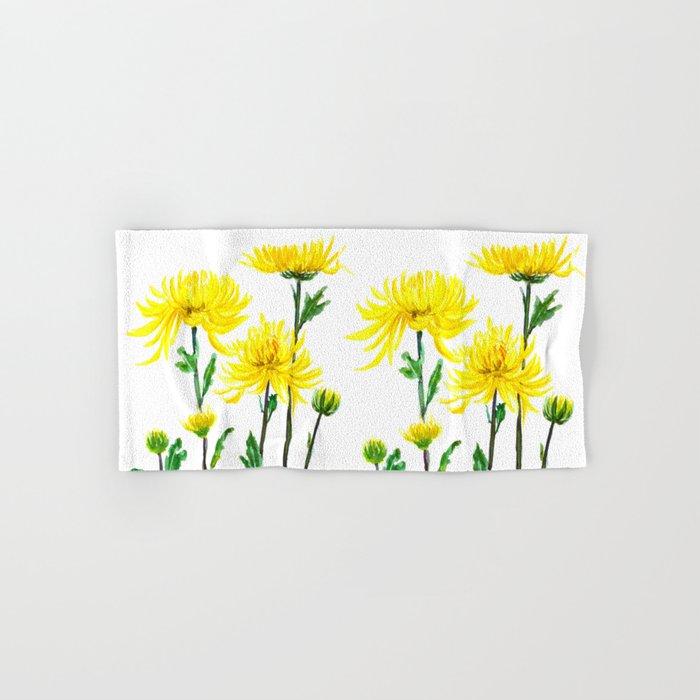 yellow chrysanthemum Hand & Bath Towel