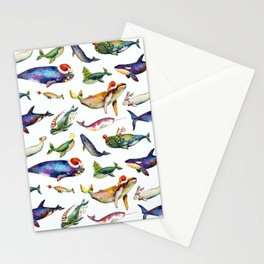 Whales on Holiday by dotsofpaint - White Stationery Cards