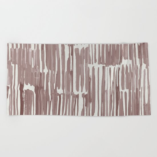 Simply Bamboo Brushstroke Red Earth on Lunar Gray Beach Towel