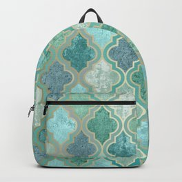 Bohemian Home Decor, Morocco Art, Teal, Green and Blue Backpack