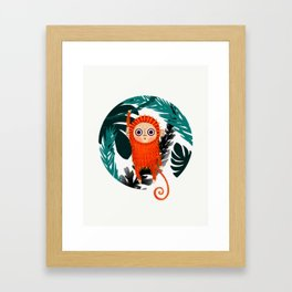 Happy hanging monkey Framed Art Print
