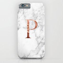 Monogram rose gold marble P iPhone Case