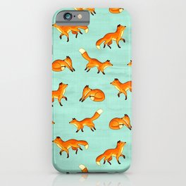 Free Frolicking Foxes on Mint iPhone Case