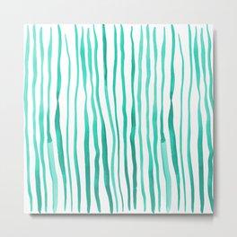 Vertical watercolor lines - aqua Metal Print