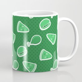 Pizza Burgers and Fried Chicken Time Picnic on Green Coffee Mug