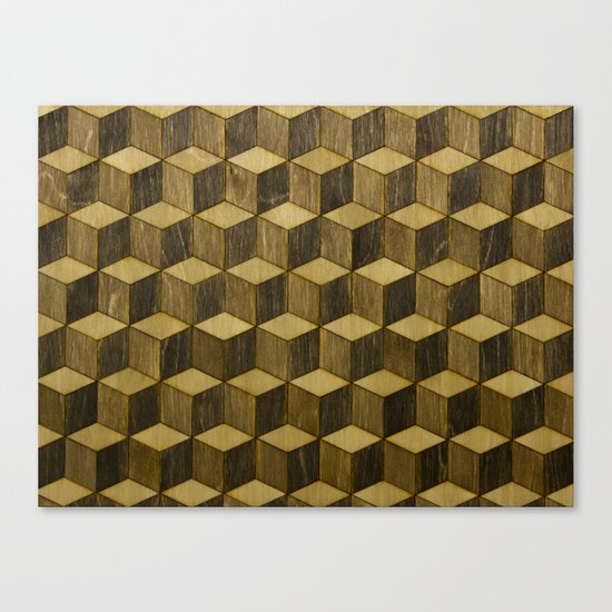 Optical wood cubes Canvas Print