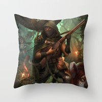 hunter x hunter Throw Pillows featuring Hunter by Mitul Mistry